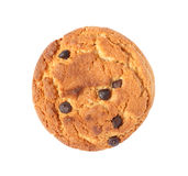 Oatmeal cookie with chocolate isolated. On white background Royalty Free Stock Image