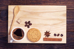 Oatmeal cookie, coffee, cinnamon and anise Stock Image