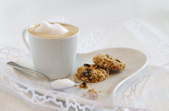 Oatmeal cookie with coffee Royalty Free Stock Images