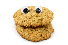 Oatmeal Cookie Face with Wiggly Eyes Stock Images