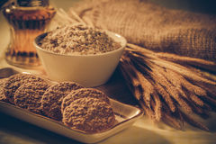 Oatmeal cookie. On table-Filtered Images royalty free stock photo