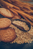 Oatmeal cookie. On table,healthy food stock photo