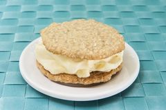 Oatmeal Cookie and Vanilla Ice Cream Sandwich Stock Images