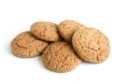 Oatmeal cookies. On a white background Royalty Free Stock Photos