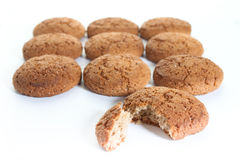 Oatmeal cookies. On white backgroung stock photos