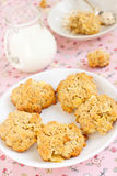 Oatmeal cookies. Frresh oatmeal cookies with milk Royalty Free Stock Photos
