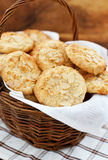 Oatmeal cookies with almond in a basket Stock Image