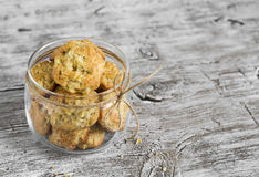 Oatmeal cookies with apples in a glass jar Stock Photos