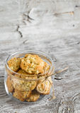 Oatmeal cookies with apples in a glass jar Stock Photo