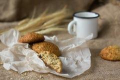 Oatmeal cookies. Оatmeal cookies and ears of rye Stock Image