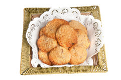 Oatmeal cookies in a basket. Oatmeal cookies on a white background Royalty Free Stock Photo