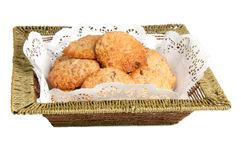 Oatmeal cookies in a basket. Oatmeal cookies on a white background Royalty Free Stock Images