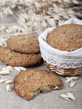 Oatmeal cookies in a basket  . Stock Images