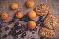 Oatmeal cookies with blackberries and apricots Royalty Free Stock Photography