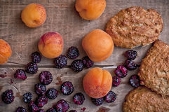 Oatmeal cookies with blackberries and apricots Royalty Free Stock Photo