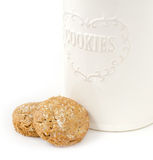 Oatmeal cookies and box Stock Photography