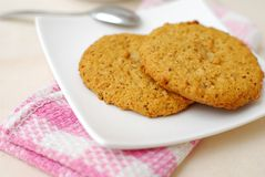 Oatmeal cookies for breakfast Royalty Free Stock Images