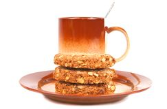 Oatmeal cookies on brown plate. Stock Photography