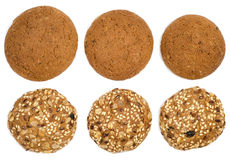 Oatmeal cookies. A bunch of oatmeal cookies with different nuts and seeds isolated on white background Royalty Free Stock Image