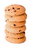 Oatmeal cookies with chocolate drops  on white Royalty Free Stock Photos
