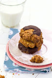 Oatmeal cookies with chocolate Stock Images