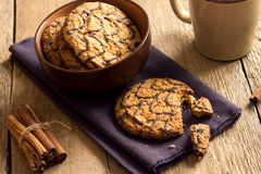 Oatmeal cookies with chocolate Stock Photography