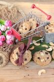 Oatmeal cookies with chocolate and nuts is delicious. Stock Images