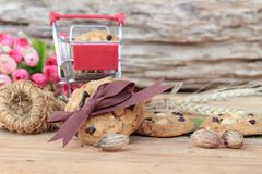 Oatmeal cookies with chocolate and nuts is delicious. Royalty Free Stock Photos