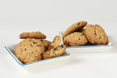 Oatmeal cookies with chocolate Royalty Free Stock Images