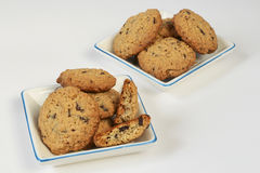 Oatmeal cookies with chocolate Stock Photos