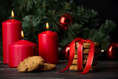 Oatmeal cookies with christmas decoration Royalty Free Stock Image