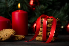 Oatmeal cookies with christmas decoration Royalty Free Stock Images