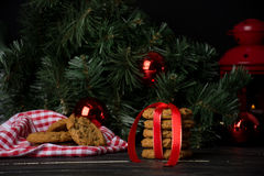 Oatmeal cookies with christmas decoration Royalty Free Stock Photos