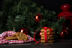 Oatmeal cookies with christmas decoration Stock Photo