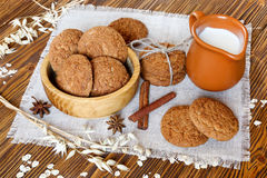 Oatmeal cookies with cinnamon and milk Royalty Free Stock Photo