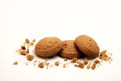 Oatmeal cookies closeup shot royalty free stock photo