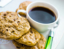 Oatmeal cookies and coffee Royalty Free Stock Image