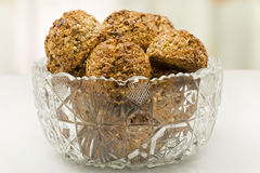 Oatmeal cookies in a crystal vase. Closeup Stock Photography