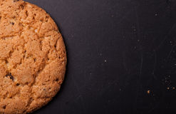 Oatmeal cookies on a dark background with place for text Royalty Free Stock Photos