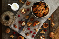 Oatmeal cookies with dried cranberry and walnut for cozy breakfast Royalty Free Stock Photos