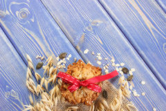 Oatmeal cookies and ears of oat, healthy dessert concept, copy space for text on boards Royalty Free Stock Images