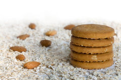 Oatmeal cookies  with Fresh ingredients for them (oat flakes, nu Royalty Free Stock Photo