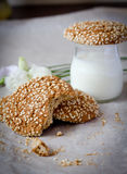 Oatmeal cookies. And a glass of milk Royalty Free Stock Image