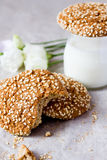Oatmeal cookies. And a glass of milk Royalty Free Stock Images