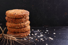 Oatmeal cookies with grains Stock Photo