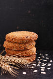 Oatmeal cookies with grains Royalty Free Stock Photos