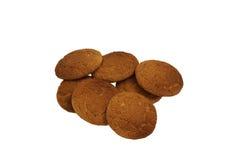 Oatmeal cookies. Lying heaped. Brown Stock Photo