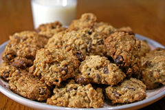 Oatmeal Cookies and Milk Stock Image