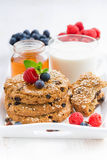 Oatmeal cookies, milk and berries for a healthy breakfast Royalty Free Stock Images