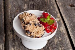 Oatmeal cookies with milk and fresh berries, horizontal, close u Royalty Free Stock Images